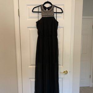 MANGO High Neck Black Maxi Dress